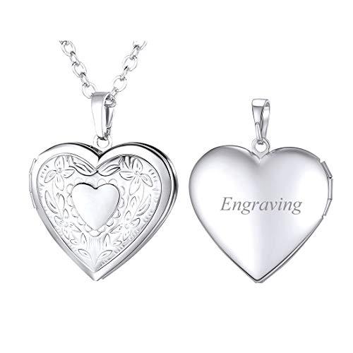 U7 personalisiert Herz Anhänger Halskette für Damen Mädchen Weißgold überzogend Herz Reliefgravierung Medaillon zum Öffnen Photo Bilder Amulett Herzanhänger Geschenk für Valentinstag Muttertag