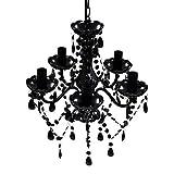 vidaXL Lámpara de araña de cristal, 5 focos, color negro, lámpara de techo, lámpara de techo, lámpara de techo de plástico