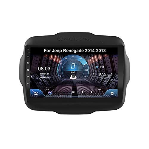SZJY Autoradio GPS Navigazione Music 9 Pollici HD Touch Multimedia per Jeep Renegade 2014-2018 Collega E USA Support Controllo del Volante Chiamate in Vivavoce Telecamera Posteriore