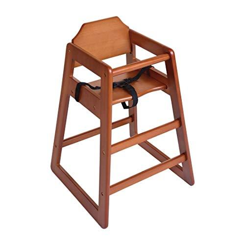 Bolero Chaise haute en bois marron foncé pour salleà manger et café 750 x 510 x 510 mm