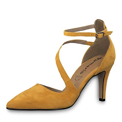 Tamaris Damen Pumps 24499-33, Frauen Riemchen Pumps, weibliche Lady Ladies feminin elegant Women's Women Woman Abend Feier,Mustard,37 EU / 4 UK