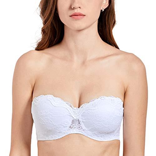 DELIMIRA Femme Soutien-Gorge sans Bretelles Bandeau en Dentelles avec Armatures Blanc FR:105C