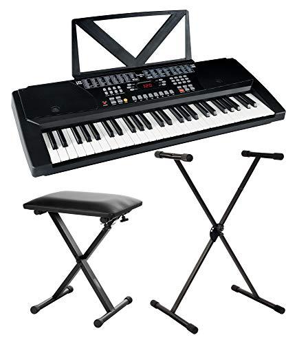 Funkey 54 Keyboard - 54 Tasten ideal für Einsteiger und Kinder - 100 Sounds/Klänge und Begleitautomatik mit 100 Rhythmen - Inklusive Keyboardständer, Sitzbank und Notenhalter - Schwarz