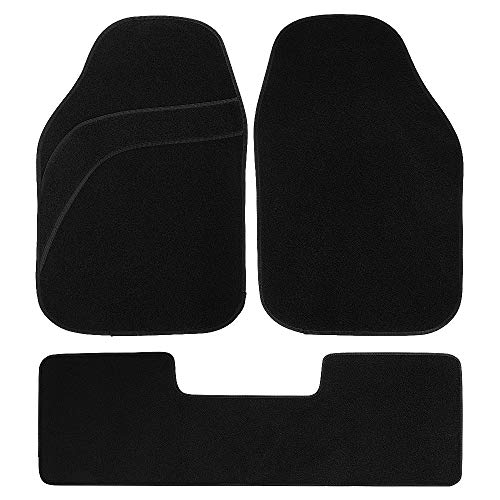 MUSEE Universal Car Floor Mat Carpet Fit for Car SUV Van & Truck All Weather Protection Universal Fit (Black-Siamese Carpet)