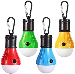 A set of four different colored hanging miniature LED tent lanterns.