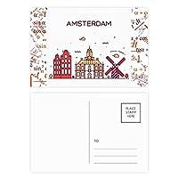 アムステルダムフラットランドマーク 公式ポストカードセットサンクスカード郵送側20個