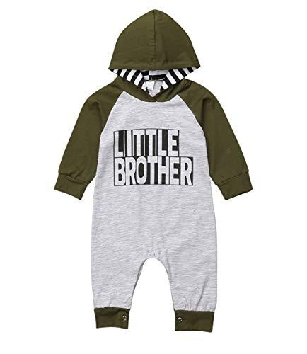 Vawal Kleinkind Baby Junge Lange Ärmel Kapuzenpullover Overall Strampler Großer Kleiner Bruder Herbst Winter Familie Outfits (0-6M, Strampler-Grau)