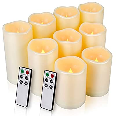 """Flameless Candles, LED Candles Outdoor Candles Waterproof Candles(D: 3"""" x H: 4""""5""""6"""") Battery Operated Candles Plastic Pack of 9 (Battery Not Included)…"""