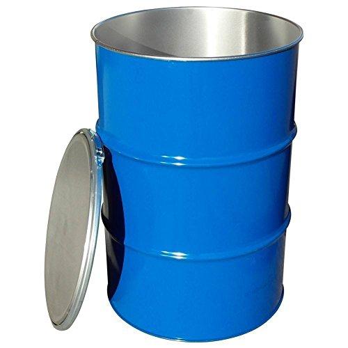 Fusto in ferro cilindrico, capacità 220 Lt, omologato ADR/ONU per solidi, ad apertura totale, coperchio con cravatta metallica (incluso), corpo blu interno grezzo