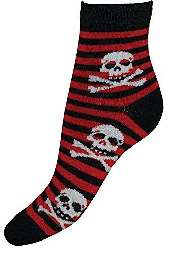 Socken Totenkopf s/r Streifen Gr. 36-42