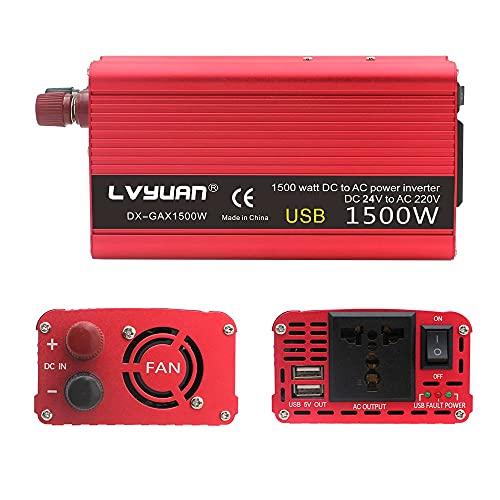 Inversor 1500W / 2000W Coche Energía solar inversor DC 24V a AC 220V Cargador portátil Conversor Adapter Adapter Universal Socket Auto Accesorios Inversores de corriente (Color Name : 1500W 24V)