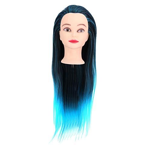 Vrouwelijke mannequin trainingskop met het haar, gemengde kleurkapper praktijken, de vlechten training mannequin hoofd aandrukt