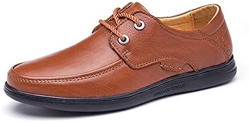 Fang Fang chaussures, Penny Mocassins Hommes Chaussures Strong Antislip Oxfords pour Hommes D'été Perforé Mocassins en Cuir Loisirs Affaires Formelle (Couleur   Jaune, Taille   36 EU)  centre commercial de la mode