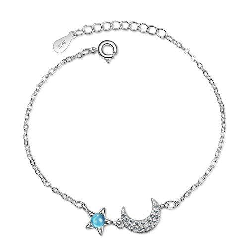 siqiwl Pulsera pura y fresca de cristal azul estrella luna Color de plata pulsera para las mujeres de la joyería XZS-SL103