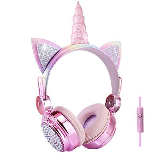 Cuffie per bambini, con unicorno con cavo arcobaleno, 85 dB, per ragazze, adolescenti, bambini, scuola, regali (arcobaleno)