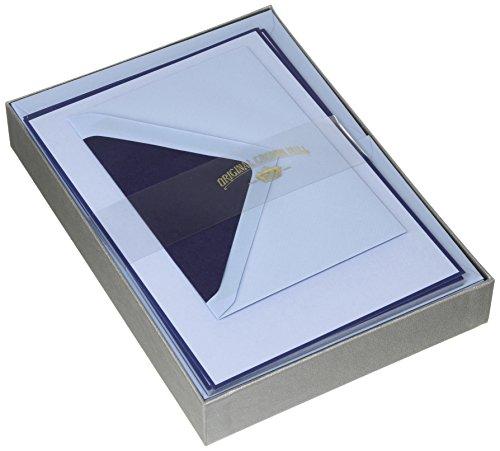 Originele Crown Mill Zilveren Lijn A5 Papier Bi-Kleur Schrijfdoos Set met C6 Gevoerde Enveloppen - Marineblauw/Blauw (Pak van 25 Sheets)