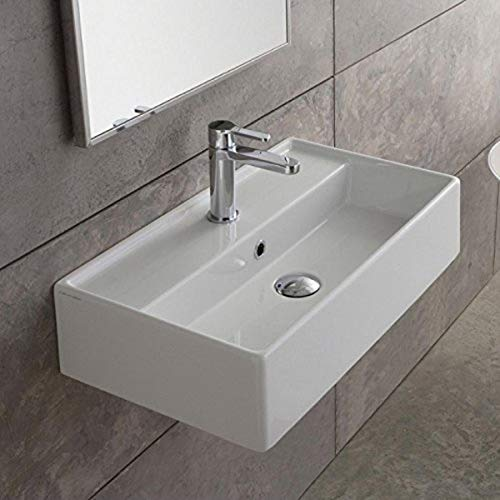 Scarabeo 5002-One Hole Teorema Rectangular Ceramic Wall Mounted/Vessel Sink, White