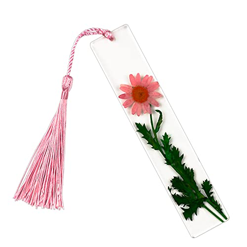 Pressed Flower Bookmark Resin Floral | Handmade | with Dried Flowers | Artsy (Pink Daisies)