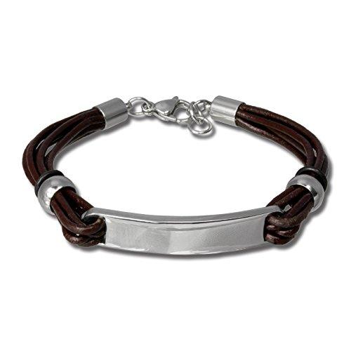 SilberDream Pulsera de piel sintética con tapa, cable de acero inoxidable, conveniente...