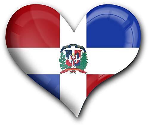 Muy fuerte imán para frigorífico en la forma de corazón'Bandera la República Dominicana'