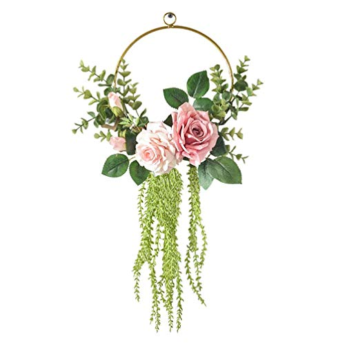 LHHZAL Floral Hoop Wreath Rose Flower Half Wreath Wall Hanging Pendant Backdrop Door Garland for Front Door Wedding Party Nursery Decor (Green)