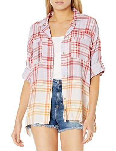 Vintage America Blues Women's Winona Stylish Tie Front Button Up Shirt, Dusty Lavender Winifred Plaid, Small