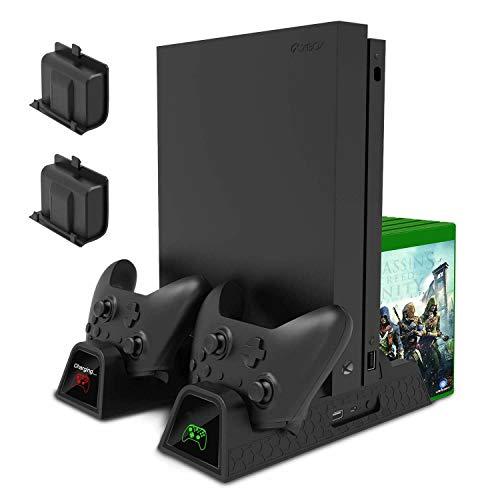 Yangers Verticale Ventola di raffreddamento + Caricabatterie per giochi Dock Station + 2 batteria ricaricabile + 3 porte Hub USB + 12 slot Game Organizer per console Xbox One /S/X
