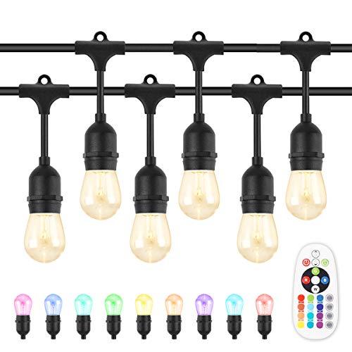 SALCAR RGB LED Lichterkette Außen Bunt 15m, 15 E27 LED Bruchsichere Birnen, S14 Lichterkette Glühbirne mit Fernbedienung, 16 Farben und 4 Lichtmust