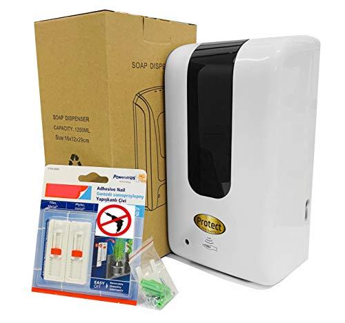 Protect Automatischer Desinfektionsspender Wandbefestigung Ohne zu Bohren 1,2l mit Sensor und UV-Licht - Störungsfrei Berührungsloser Elektrischer Spender Für Hotels, Büros, Schulen