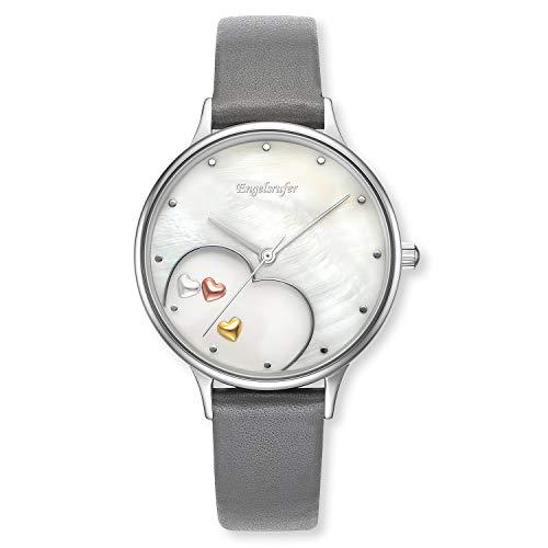 Engelsrufer - Armbanduhr Herz für Damen mit Lederband, Damenuhr aus Edelstahl mit Perlmutt Ziffernblatt und Lederarmband, edle Frauen Uhr mit echtleder Armband