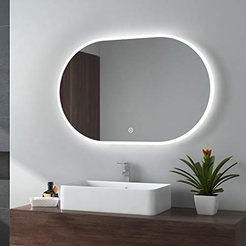 EMKE LED Badspiegel Badezimmerspiegel mit Beleuchtung Warmweissen Lichtspiegel Wandspiegel … (Spiegel Oval Typ A, 90x60cm Touchschalter+3 Lichtfarbe)