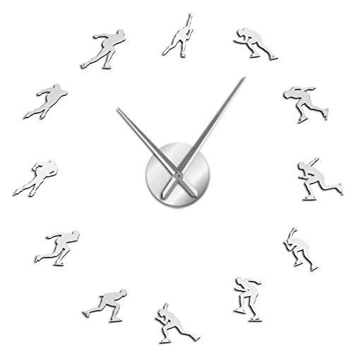 YQMJLF Reloj Pared DIY 3D Grande Deportes Patinaje Velocidad sobre Hielo Reloj Pared Grande DIY Patinaje sobre Hielo Decor hogar Espejos Rodillo Velocidad Reloj Pared Patinador Superficie Plata