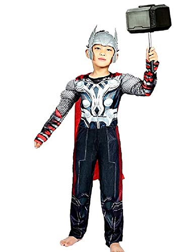 Lovelegis Costume da Thor per Bambini - Supereroe e Maschera - Busto Muscoloso - Travestimento - Carnevale - Halloween - Cosplay - Accessori - Taglia S - 3-5 Anni