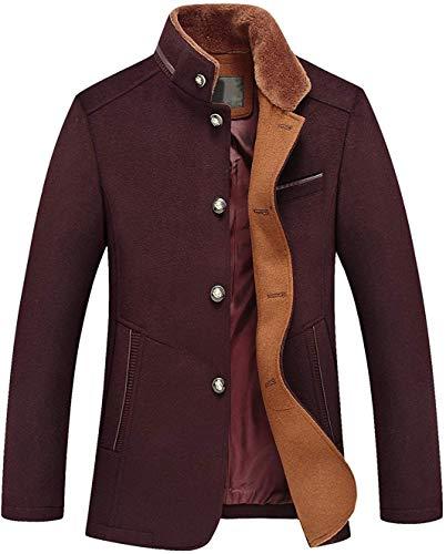 Chouyatou Men's Gentle Band Collar Single Breasted Wool Blend Pea Coat (10Dark Red, Large)