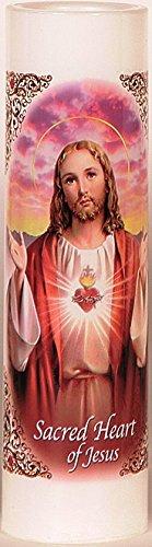 Sacred Heart of Jesus | Sagrado Corazon De Jesus | LED Flameless Prayer Candle with Automatic Timer | Valadora de Oracion sin Llama | English & Spanish | Religious Mothers Day Gift Idea