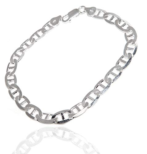 NALBORI argento 925 : Collana o Bracciale uomo maglia marina traversino 7 x 13 mm massiccia piena diamantata (bracciale lughezza a scelta)