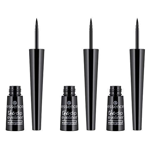 essence the dip eyeliner, Eye liner, schwarz, langanhaltend, intensiv, wasserfest, vegan, ohne Parfüm, 3er Pack (3 x 2,5ml)