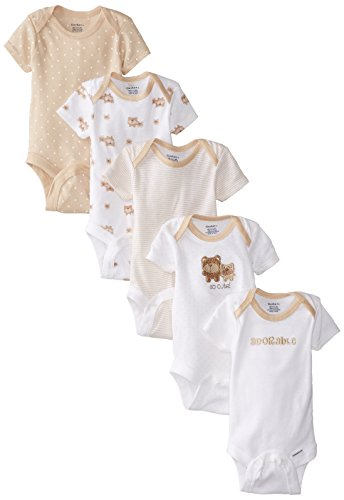 Gerber Baby Girls' 5-Pack Variety Onesies Bodysuits, Brown Bear Friends, 0-3 Months