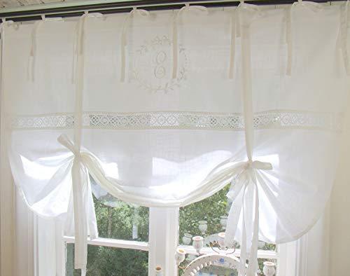 LillaBelle Raff Gardine Emilia Weiß Bestickt 140x120 cm Spitze Raffrollo Scheibengardine Bandaufhängung Leinenoptik Shabby Vintage Landhaus