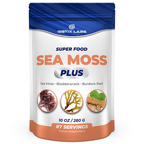 Gistix Labs Sea Moss Powder with Bladderwrack & Burdock Root - Sourced from Superfood Wildcrafted Irish Sea Moss Organic Raw – Helps Support Skin & Joints, Promotes Immune System, 10oz