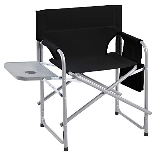 Set of 2 Folding director chair, camping chair with side table and side pockets, folding beach chair, portable deck chair for outdoors (Black)