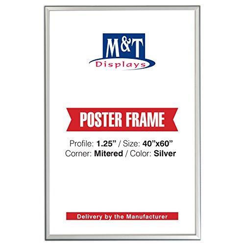 "M&T Displays Snap Frame, 40x60 Poster Size, Front Loading 1.25"" Silver, Mitered Corner"