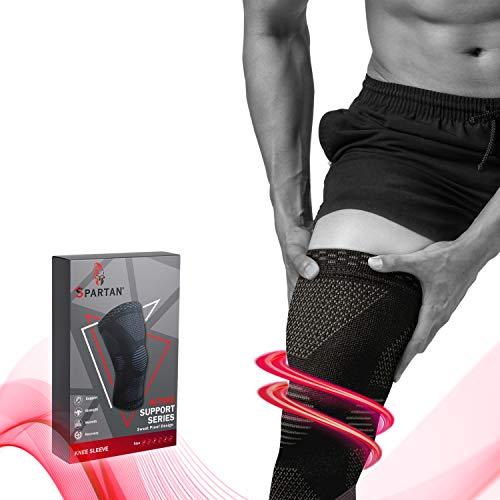 Spartan Kniebandagen, 2 Stück atmungsaktive Kniebandagen für Männer und Frauen, Kniebandagen für Laufen, Crossfit, Basketball, Gewichtheben, Fitnessstudio, Workout, Sport Kniegelenk-Schmerzprävention