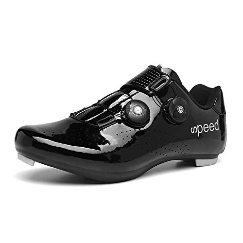 KUXUAN Zapato de ciclismo para hombre para mujer con zapatos de bloqueo para bicicleta de carretera con asistencia energética zapatos deportivos de ciclismo, negro-39EU