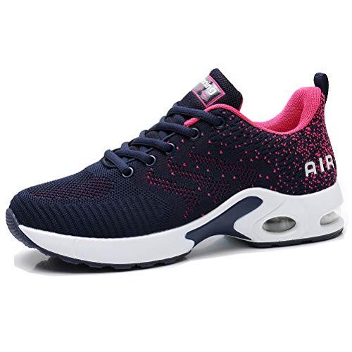 Dannto Zapatos Deporte Mujer Zapatillas Deportivas Correr Gimnasio Casual Zapatos para Caminar Mesh Running Transpirable Aumentar Más Altos Sneakers (Azul,36)