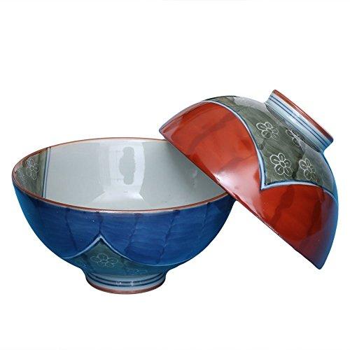 [2Schalen Set] Japanische hasami-yaki Keramik Tee, Suppe & Reis Schüssel, blau & rot Größe L & S handgemaltes Blooming Pflaume–von Fukuda Keramik