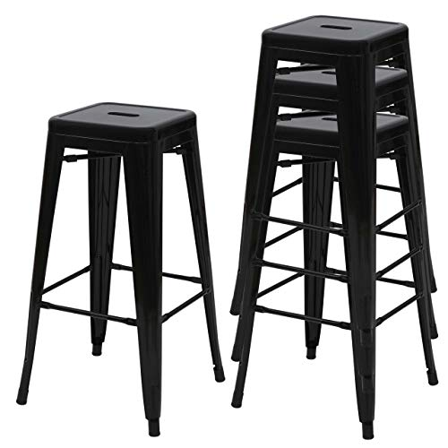 Mendler 4X Tabouret de Bar HWC-A73, Chaise de comptoir, métal, empilable, Design Industriel - Noir