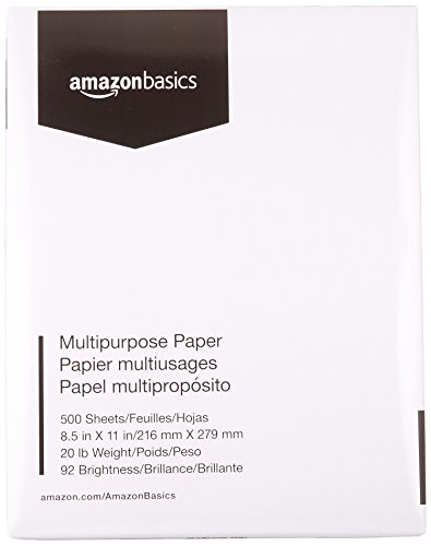 AmazonBasics Multipurpose Copy Printer Paper - White, 8.5 x 11 Inches, 1 Ream (500 Sheets)