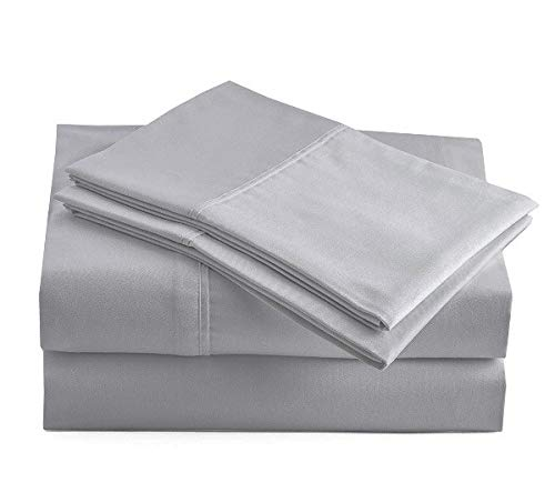 100% Organic Cotton Silver Queen-Sheets Set, 4-Piece Pure Organic Cotton Long Staple Percale Weave Ultra Soft Best Bedding Sheets for Bed, Breathable, GOTS Certified, Fits Mattress Upto 15' Deep