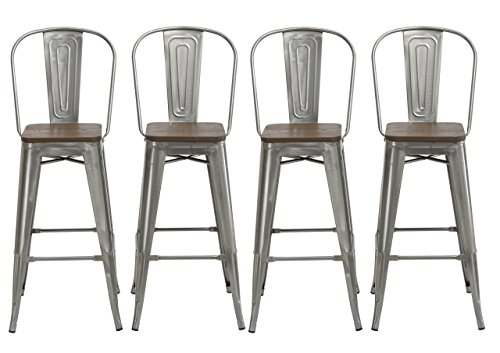 "BTEXPERT 30"" Industrial Clear Metal Vintage Antique Style Distressed Brush Rustic Dining Counter height Bar Stool Chair High Back Handmade Wood top seat (Set of 4 Barstool )"